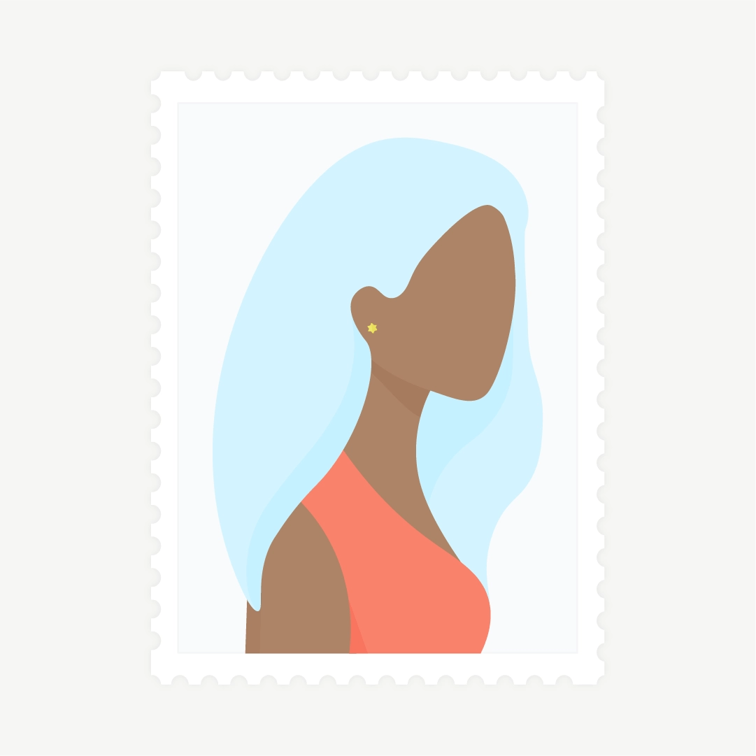 Vector illustration of a stamp: side view portrait of a woman with blue hair in flat design style