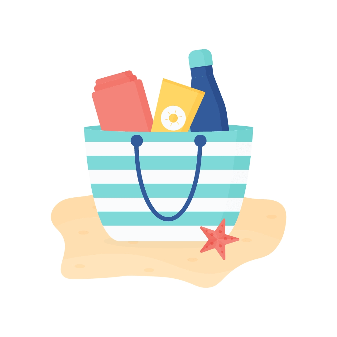 Vector illustration of a striped beach bag with a rolled towel, sun cream & water bottle inside on sand with a starfish in flat design style