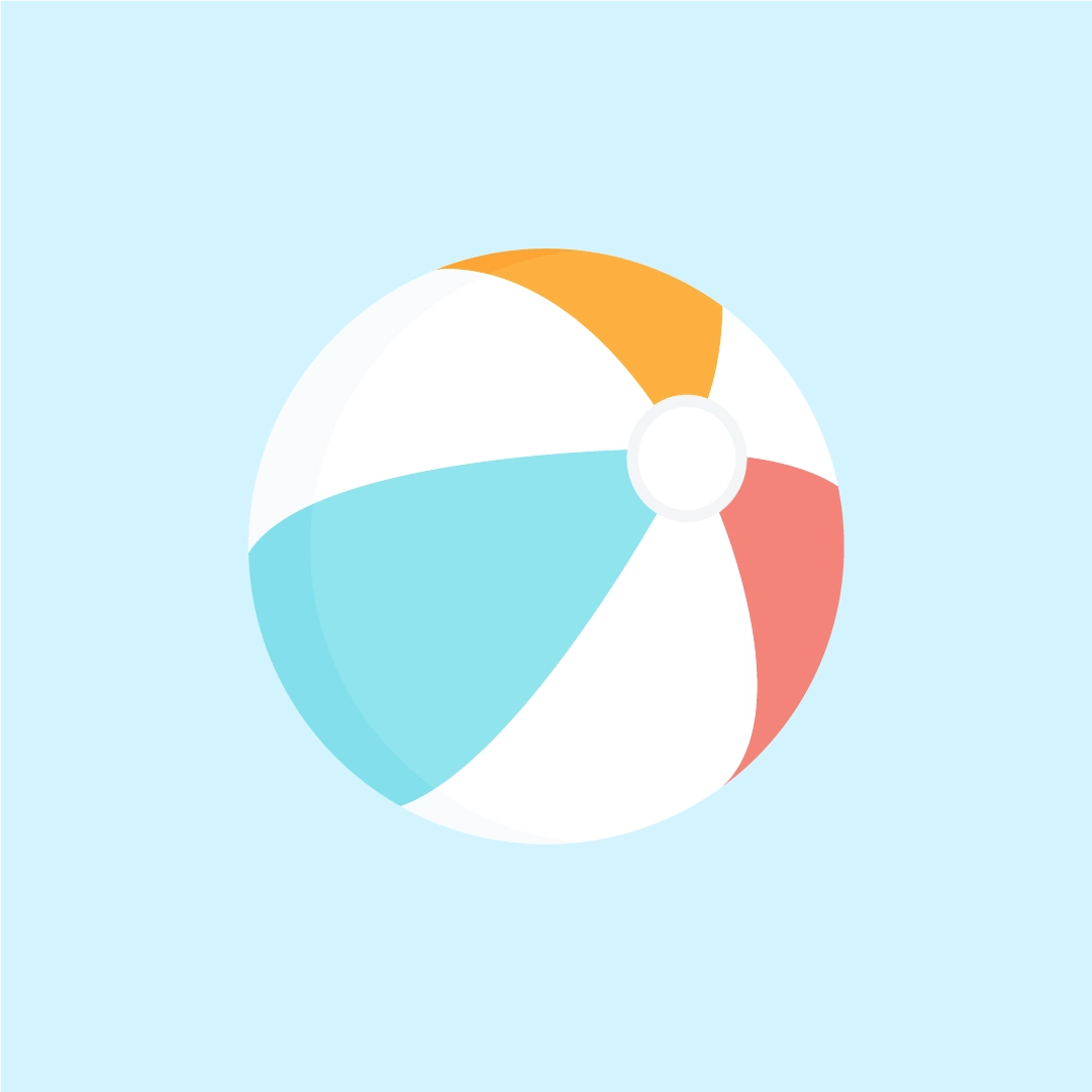 Vector illustration of a white-yellow-blue-red beach ball in flat design style