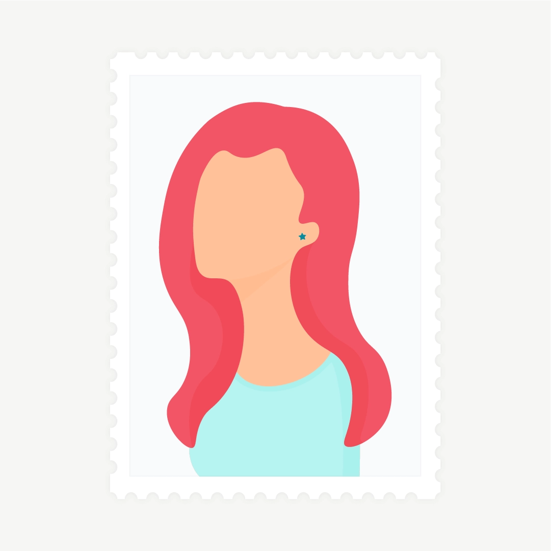 Vector illustration of a stamp: side view portrait of a woman with red hair in flat design style
