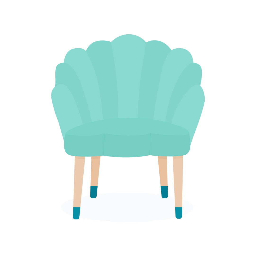 Vector illustration of a turquoise shell shape (scalloped) armchair in flat design style