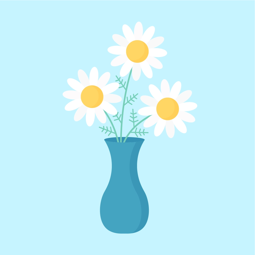 Vector illustration of Camomile (Chamomile) in a vase in flat design style