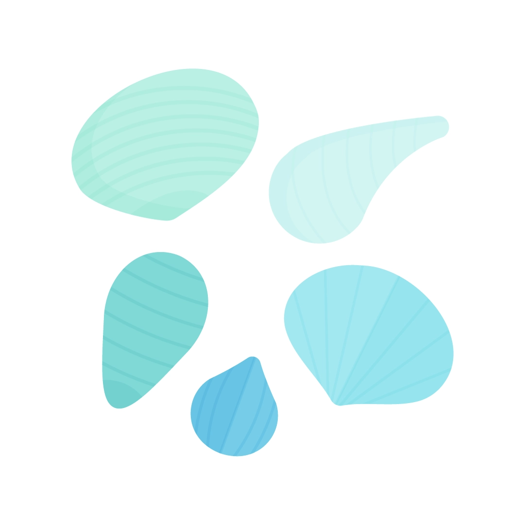 Vector illustration of different striped seashells in blue tones in flat design style