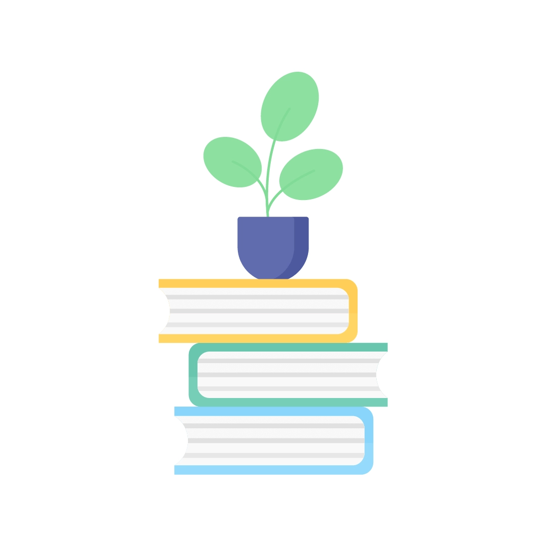Vector illustration of a pile of books with a potted plant in flat design style