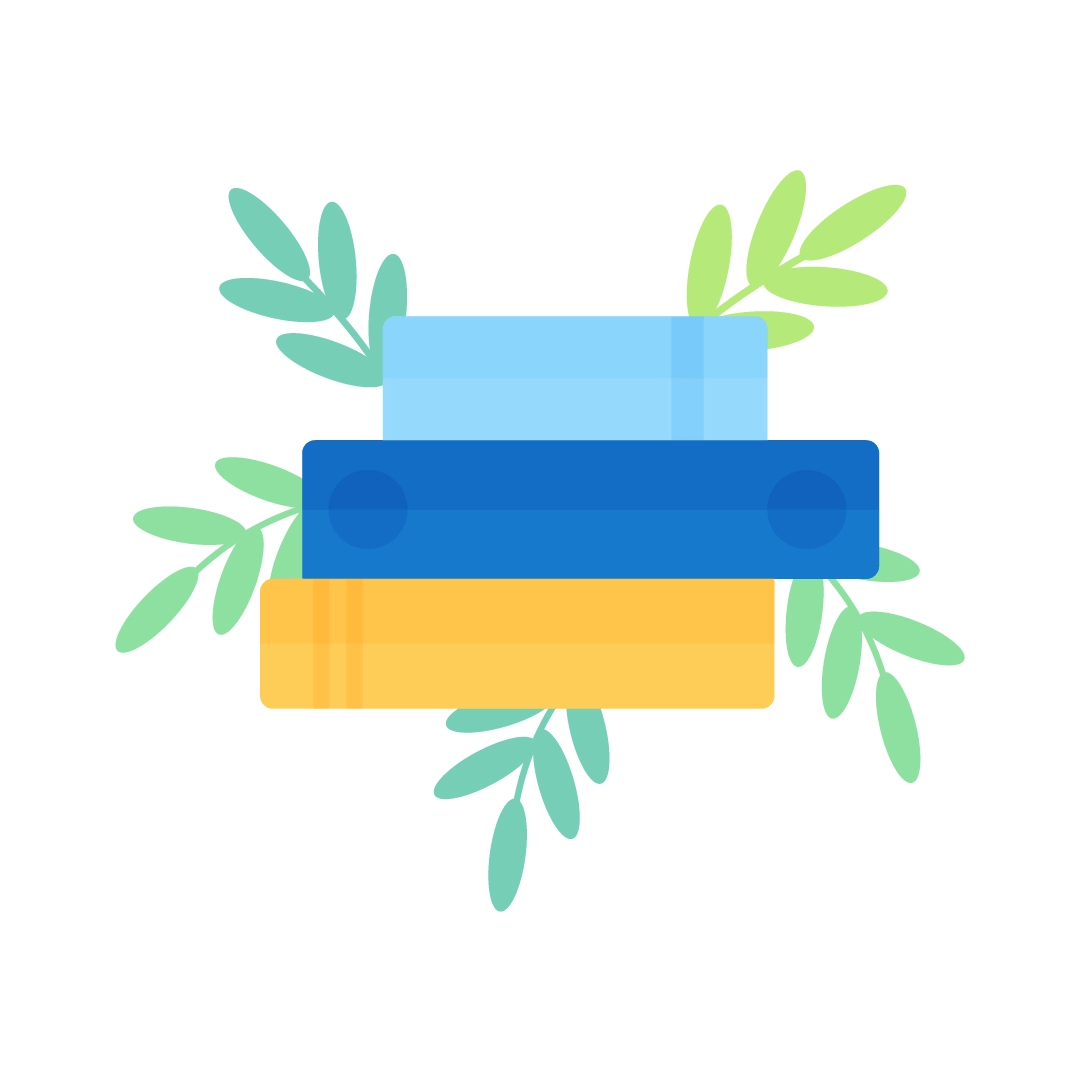 Vector illustration of a pile of books with foliage in flat design style