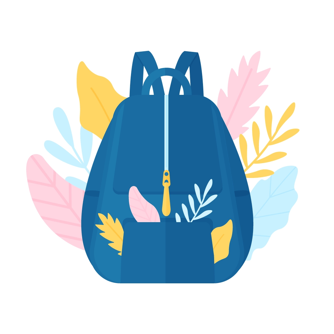 Vector illustration of a navy blue backpack with pink, blue & yellow foliage in flat design style