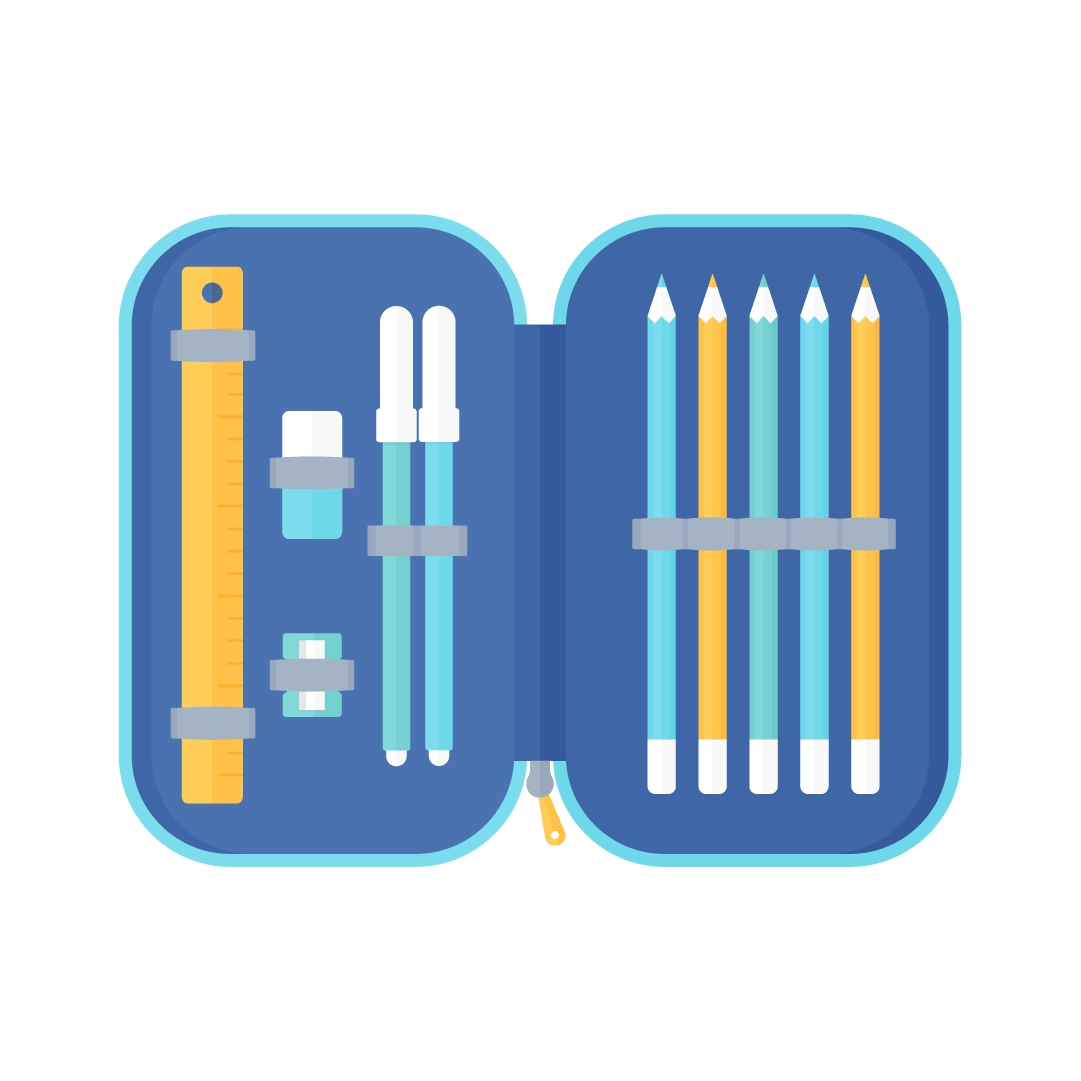 Vector illustration of an open pencil case with ruler, eraser, sharpener, markers & colouring pencils in flat design style