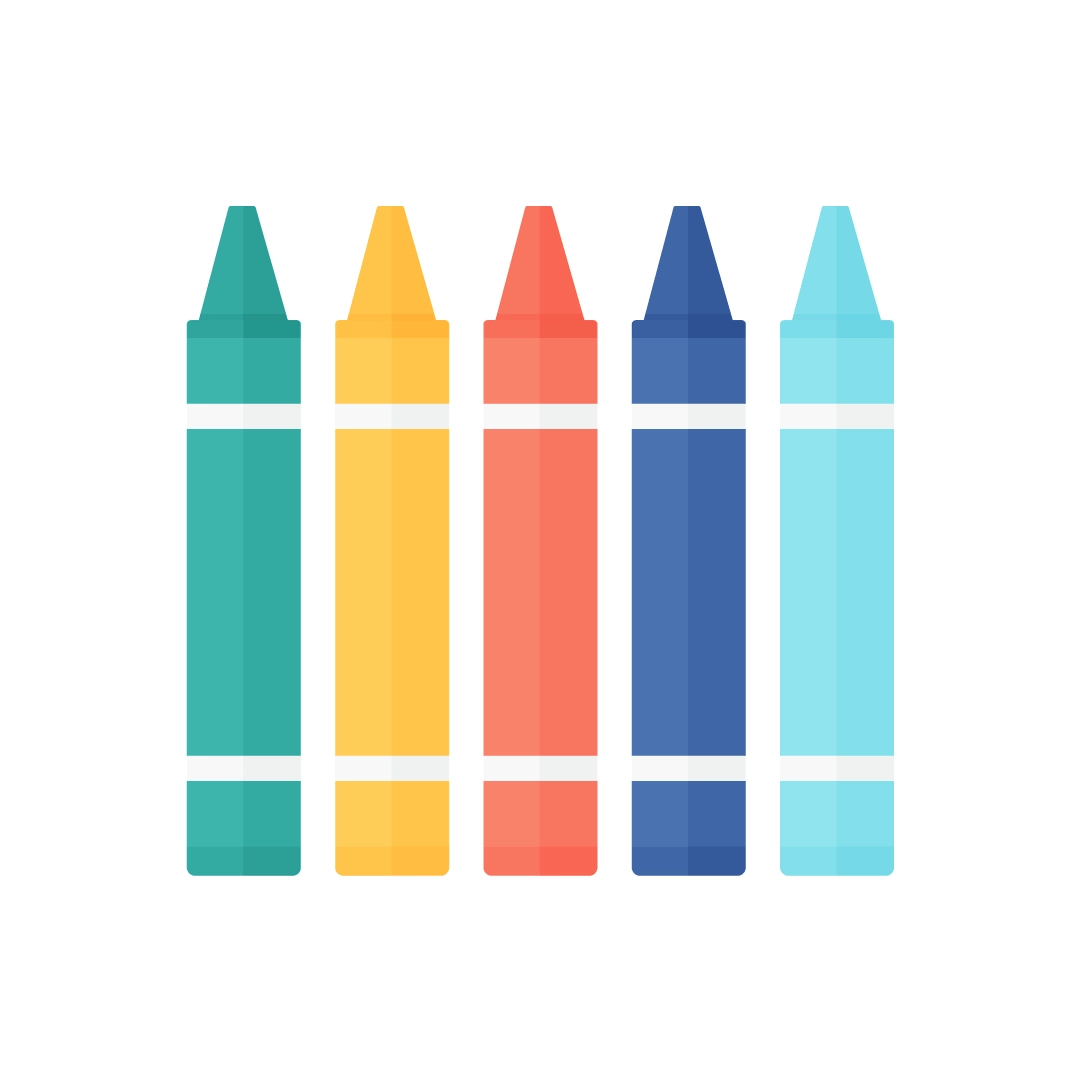 Vector illustration of crayons set in flat design style