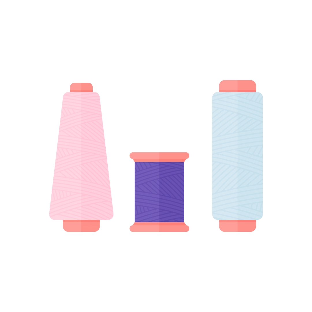 Vector illustration of different sewing threads in flat design style