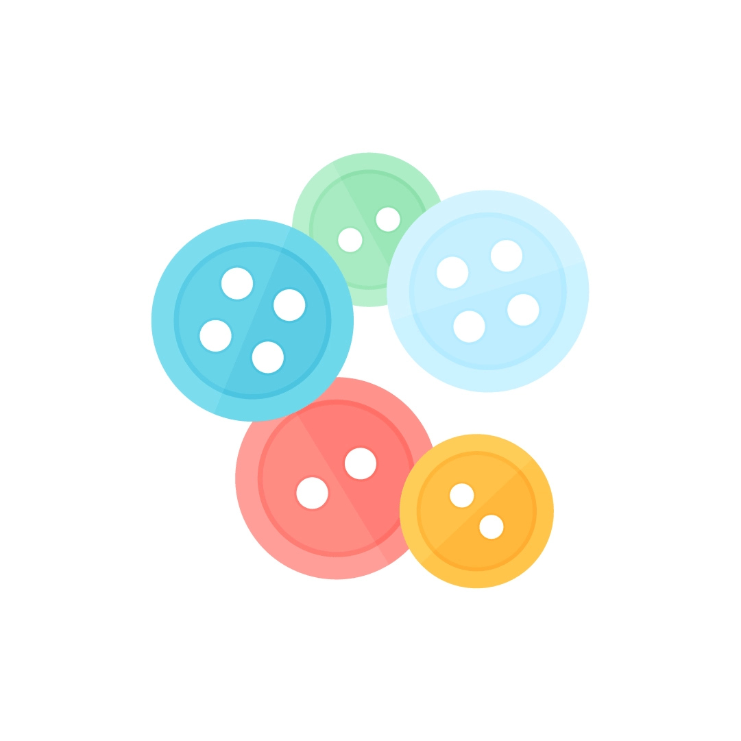 Vector illustration of a pile of sewing buttons in flat design style