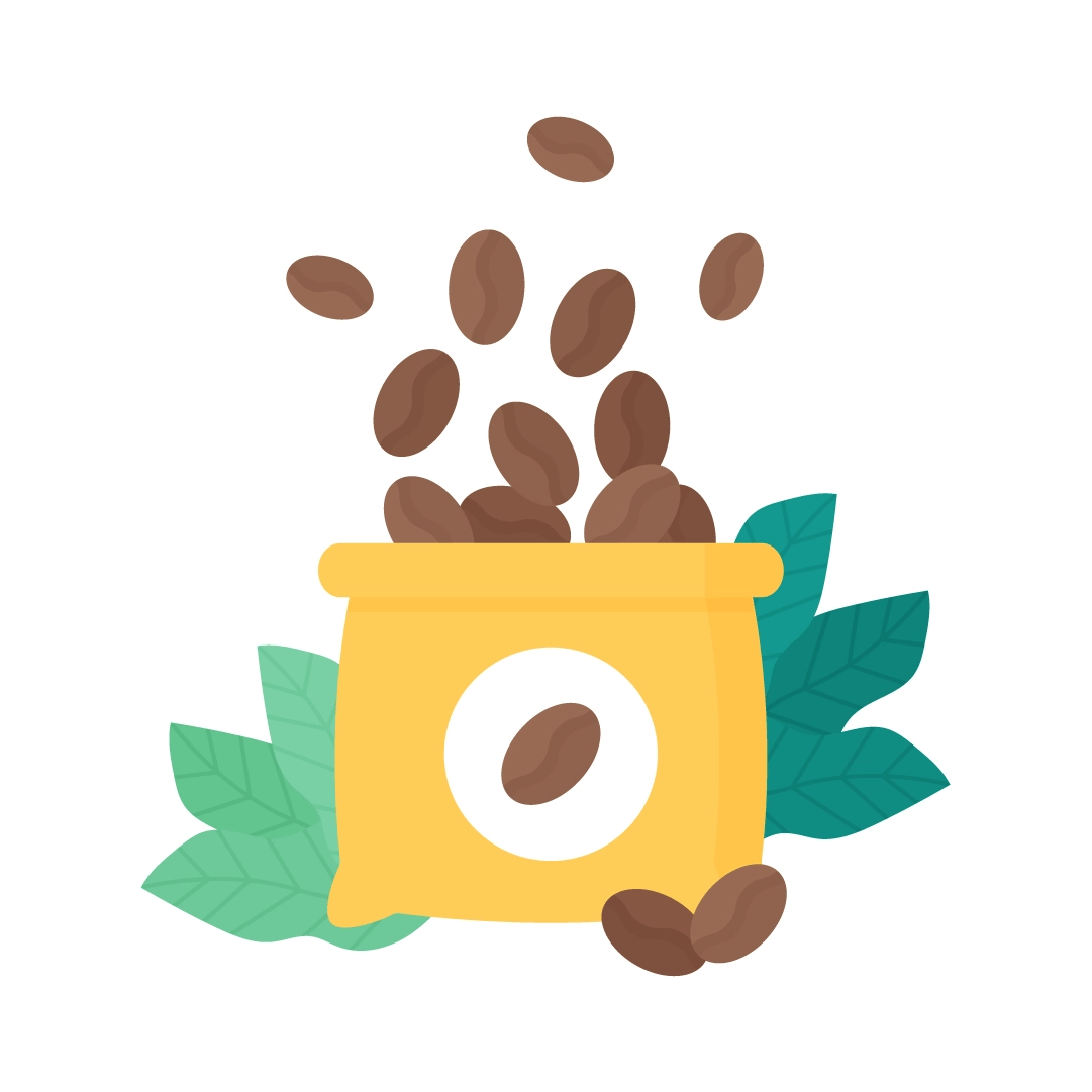 Vector illustration of a sack of coffee beans with leaves in flat design style