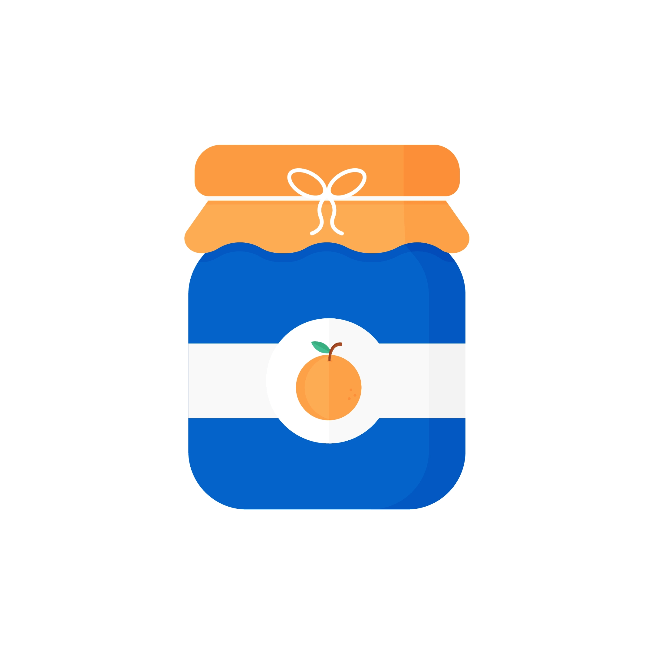 Vector illustration of an orange jam in a navy blue jar & with ribbon in flat design style