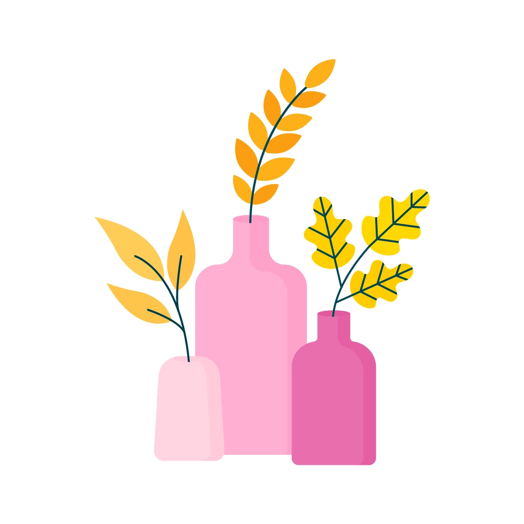 Vector illustration of a three pink vases with yellow foliage in flat design style