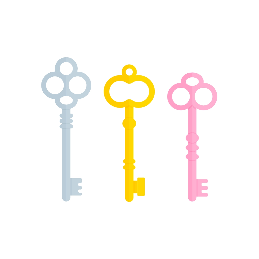 Vector illustration of a three vintage keys in flat design style