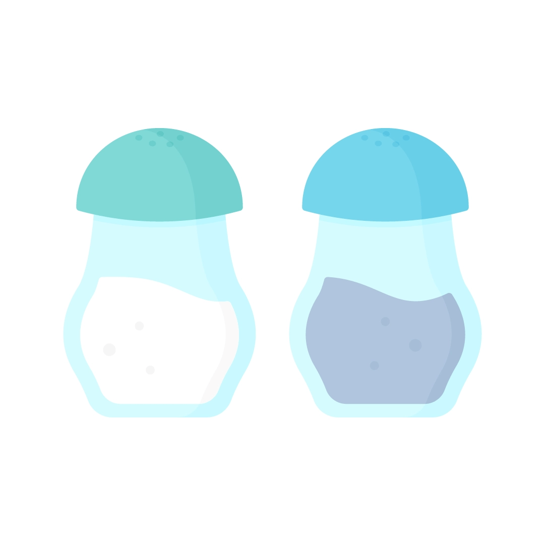 Vector illustration of a salt and pepper shakers in flat design style