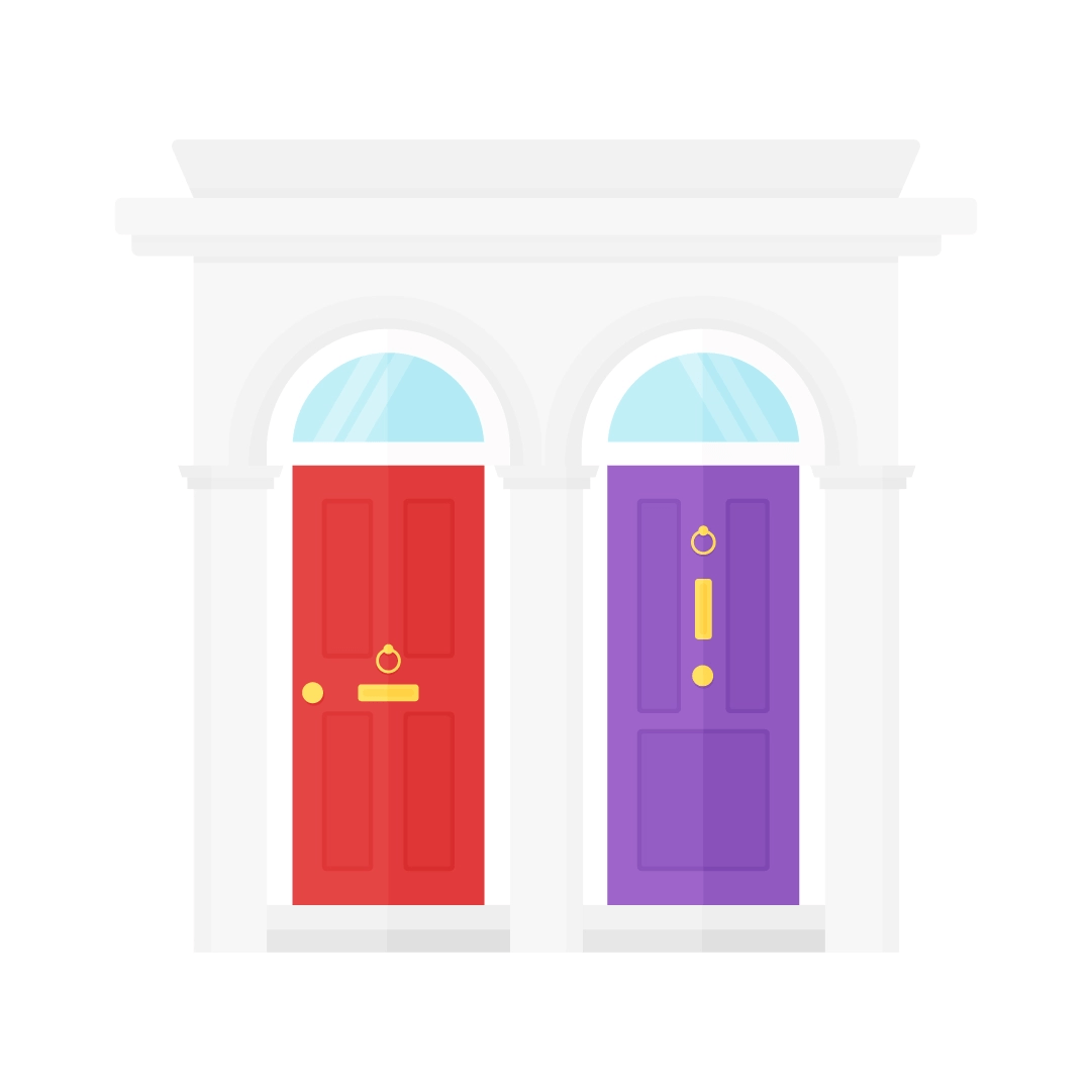 Vector illustration of a traditional British terrace house entrance - with red & purple victorian style doors in flat design style