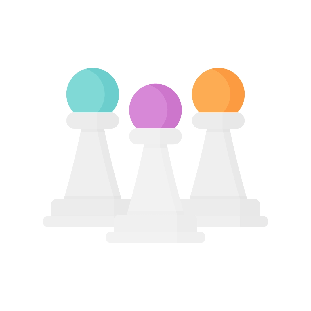 Vector illustration of a Three chess pawns in flat design style