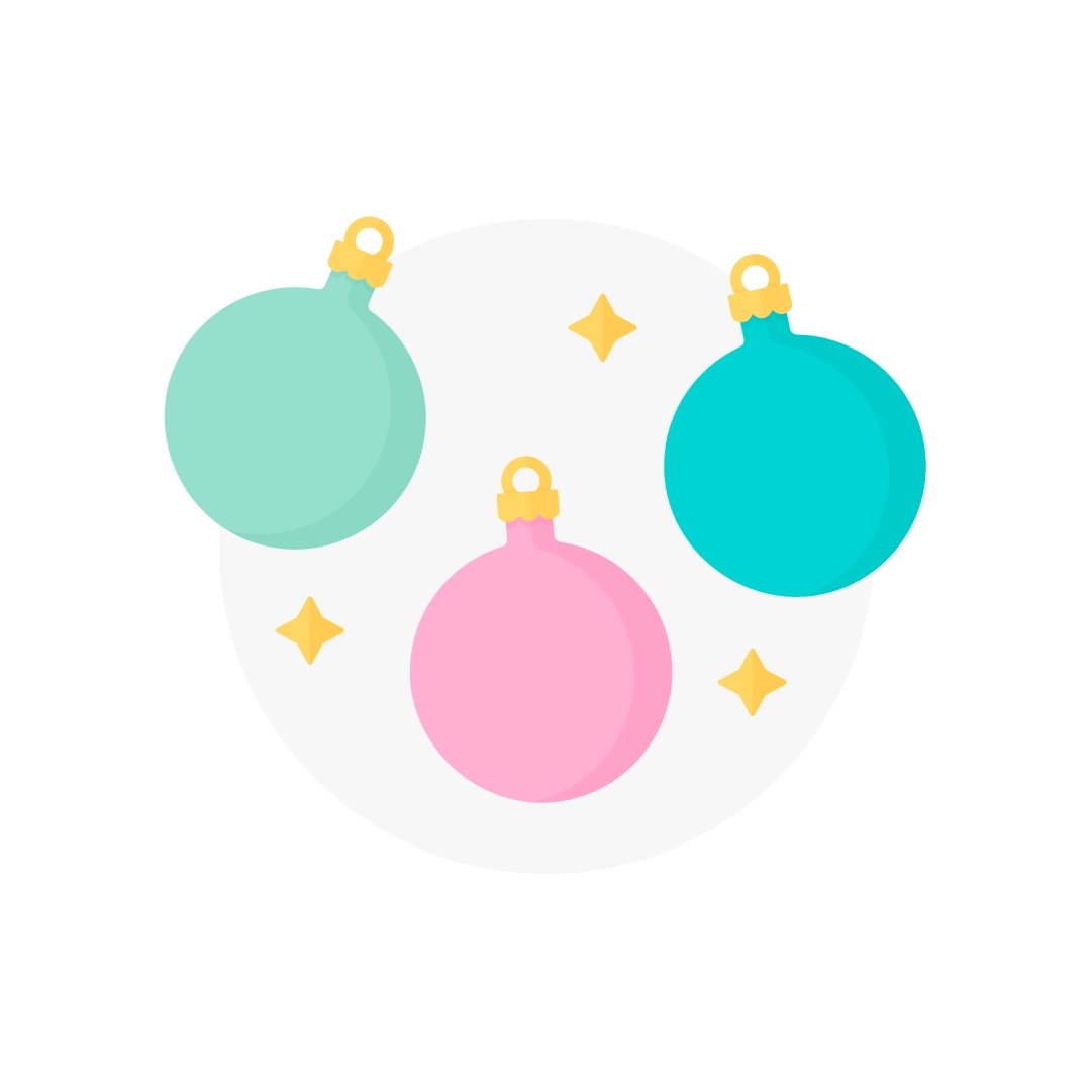 Vector illustration of round baubles in a circle with sparkles in flat design style