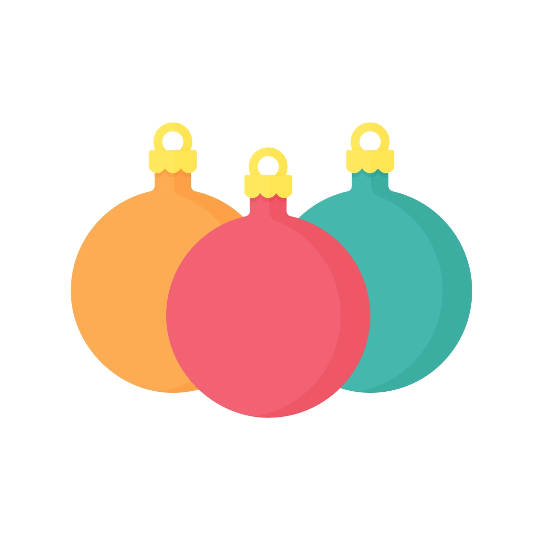 Vector illustration of overlapping round baubles in flat design style