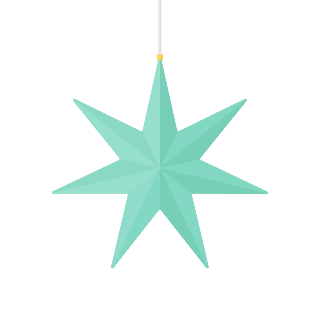 Vector illustration of a 3D star lampshade in flat design style