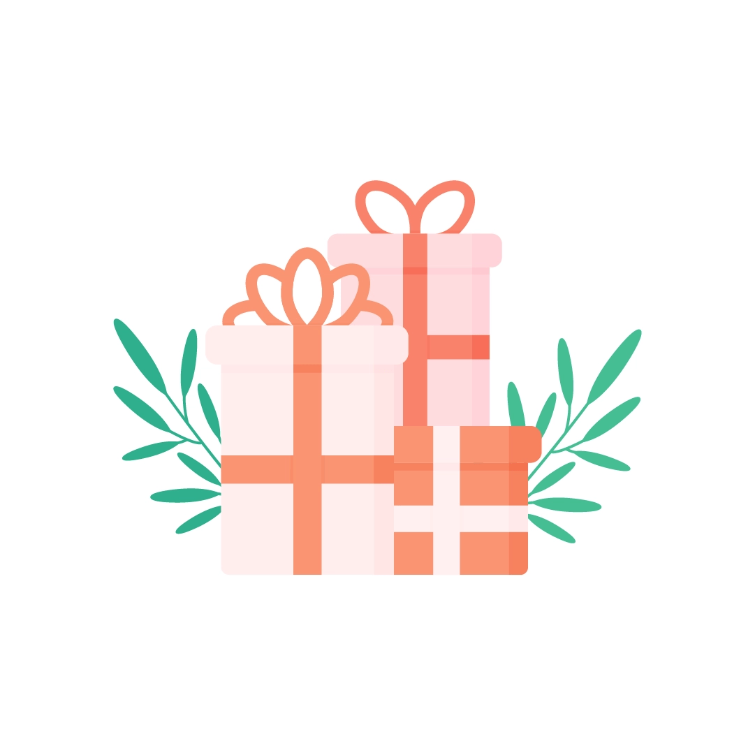 Vector illustration of three gift boxes with mistletoe branches in flat design style