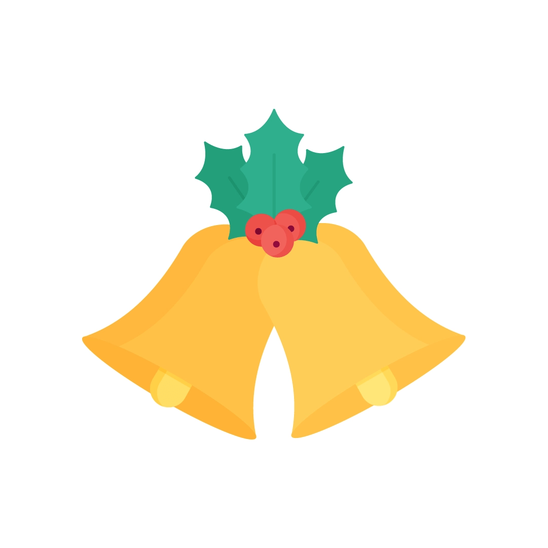 Vector illustration of Christmas bells with Holly in flat design style