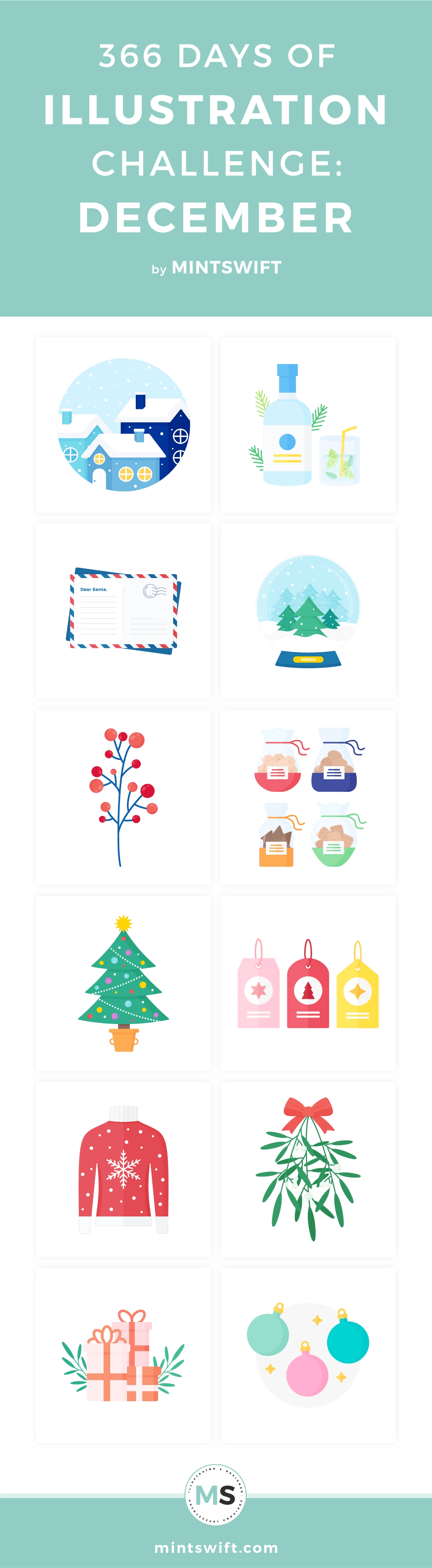 366 Days of Illustration Challenge - December by MintSwift. Top 12 vector illustrations about Christmas & Winter from the twelfth month of one year of illustration challenge in flat design style. Click through to see all designs at mintswift.com #mintswift by Adrianna Leszczynska #illustration #illustrationchallenge #flatillustration #vectorart #illustrator #flatdesign #vectorillustration #digitalillustration #vectorart #mintswiftportfolio #mintswiftillustrations