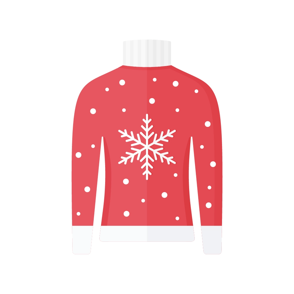 Flat illustration of Red Christmas Jumper with a Snowflake