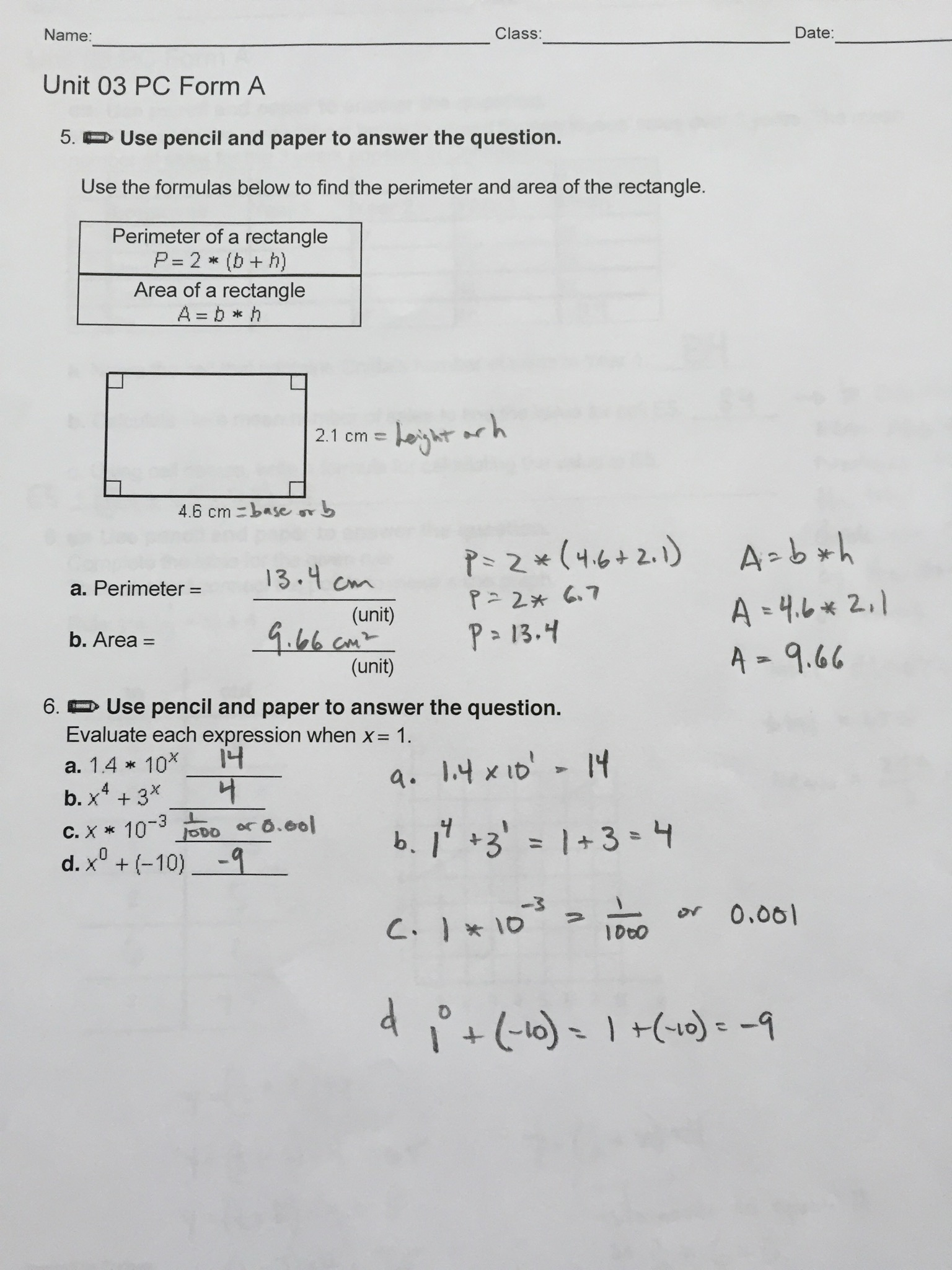 6th Grade Ch 3 Review Sheet Answers