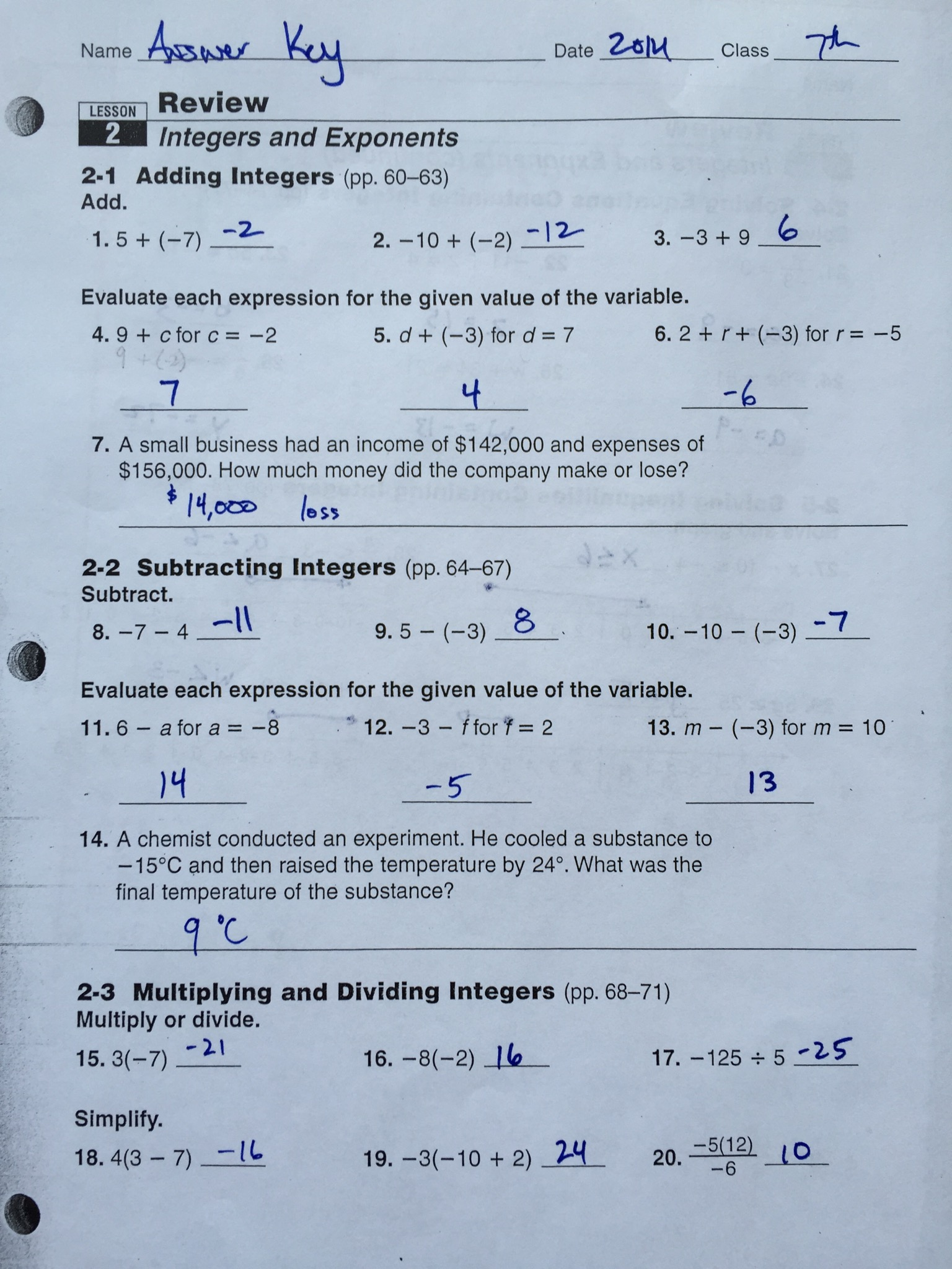 7th Grade Mid Ch 2 Review Sheet Answers