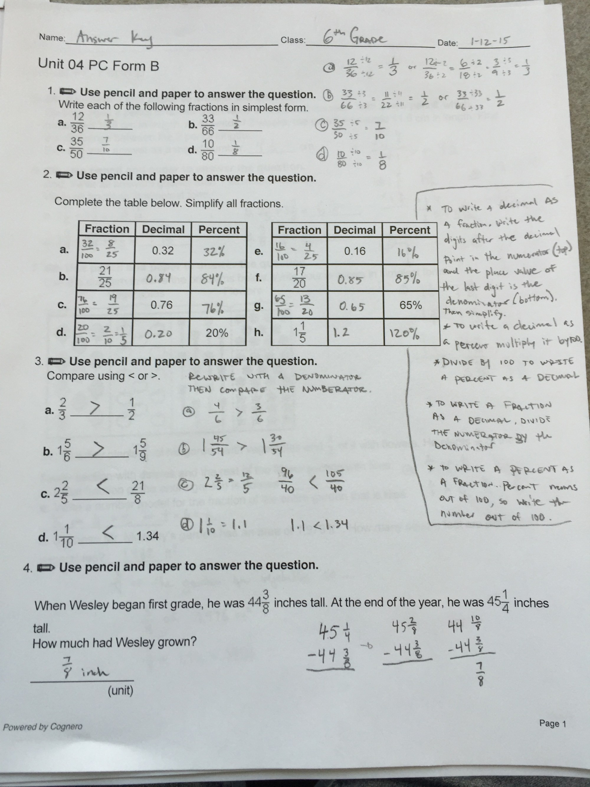 hight resolution of 6th Grade Ch. 4 Review Sheet ANSWERS Mr. Minturns Math Universe