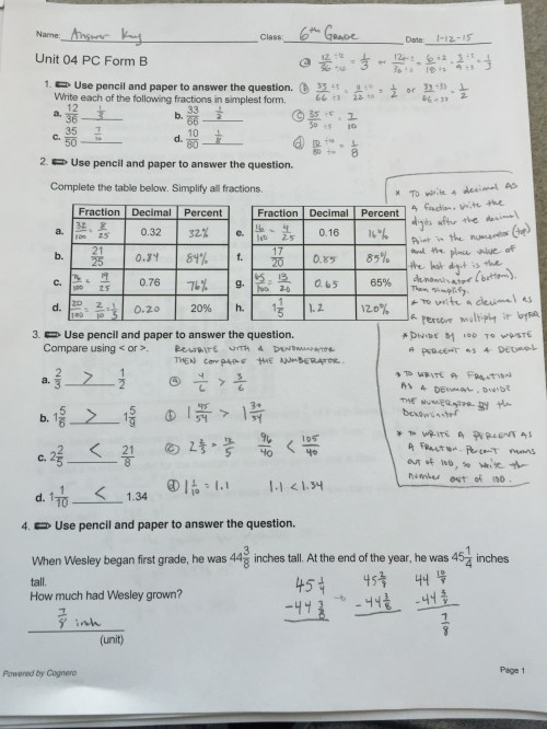 small resolution of 6th Grade Ch. 4 Review Sheet ANSWERS Mr. Minturns Math Universe