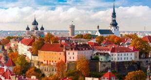 Aerial view old town Tallinn Estonia XL