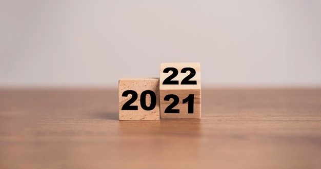 flipping wooden cubes block change 2021 2022 year merry christmas happy new year concept 50039 2425