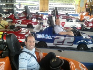 Michael Weber and Todd Gish in bumper cars.