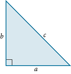 Right triangle with the base labeled: a, the height labeled: b, and the hypotenuse labeled: c.