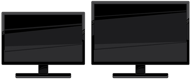 Two televisions side-by-side. The right tv is slightly larger than the left.