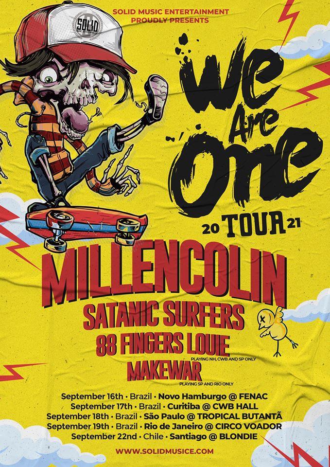 We Are One Tuor: Festival com Millencolin e Satanic Surfers é transferido para 2021