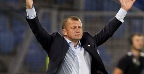 Otelul Galati's coach Munteanu gestures during a Champions League Group C soccer match against FC Basel (FCB) in Basel