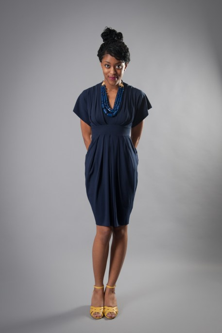 nadia tarr navy pleated dress