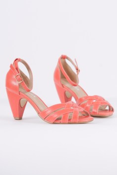 Nirvana Ankle Strap Heels in Coral