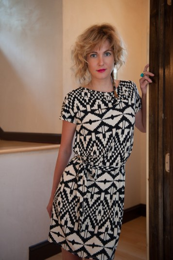 Black and White Shirred Leota Dress