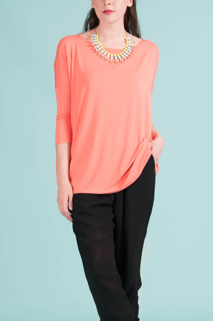 Piko 3/4 Sleeve Top in Peach