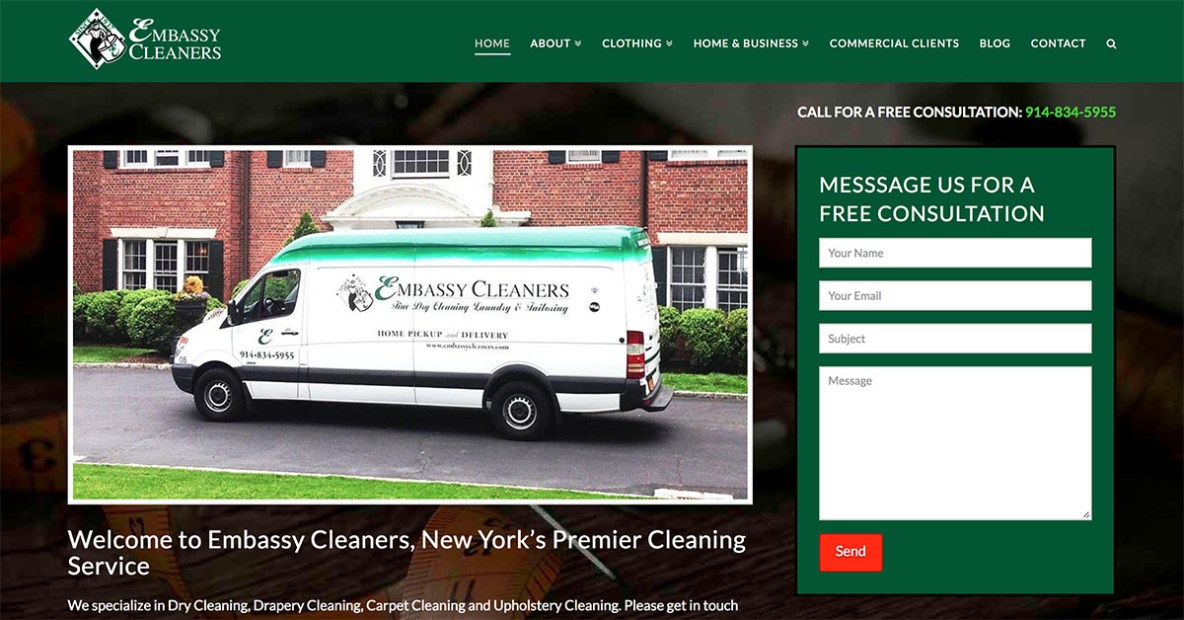 embassy cleaners website and digital marketing by minyona.com