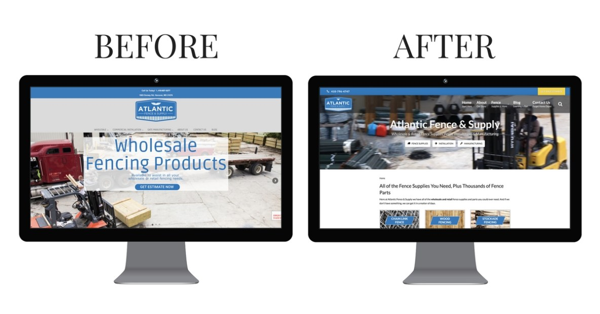 Atlantic Fence Website Before and After