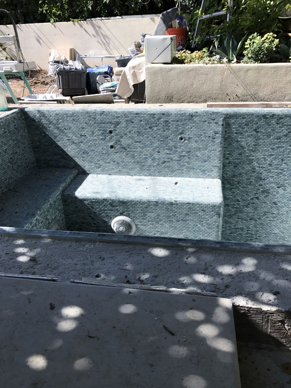 Glass tile spa with cold plunge and waterfall 1