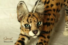 Serval Cat, needle felting sculpture