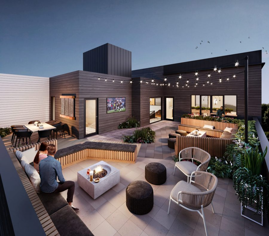 Roof deck with fire pit & lounge seating