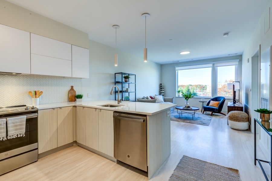 Open concept kitchen with euro-style appliances