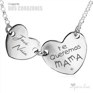 Top 10 colgantes de plata más vendidos - Colgante Dos Corazones
